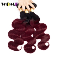 Wome Pre colored Ombre Brazilian Hair 3 Bundles Deals 1b 99j 2 Tone Red Burgundy Non remy Body Wave Ombre Human Hair Weave