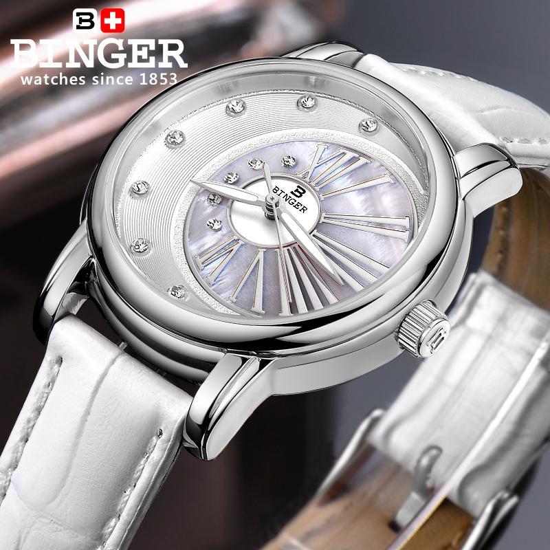 Suisse Binger montres pour femmes diamant marque de luxe horloge femme bracelet en cuir quartz étanche montres pour femmes B1137