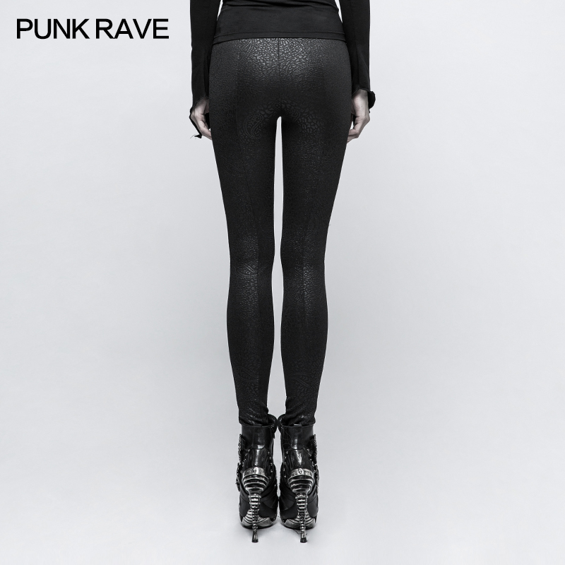 Pants leggings black with patterns baroque and lacing elegant ari Punk Rock Club Fashion Visual Kei K291 - 3