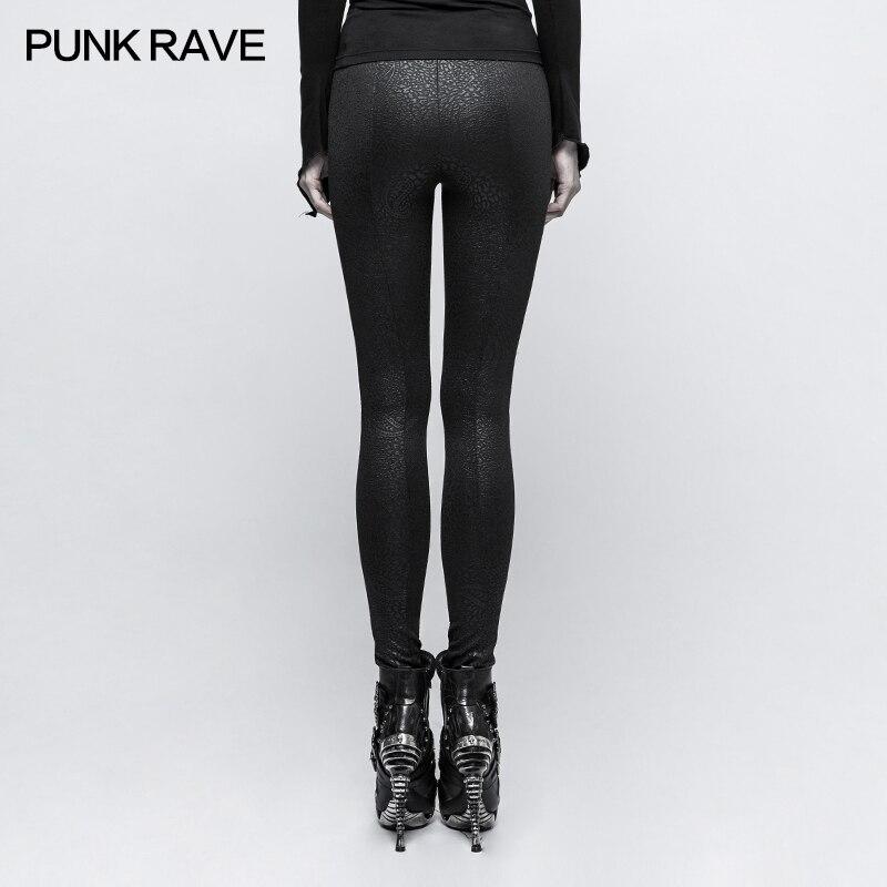 Pantalones leggings negros con patrones barrocos y cordones elegante ari Punk Rock Club moda Visual Kei K291 - 3