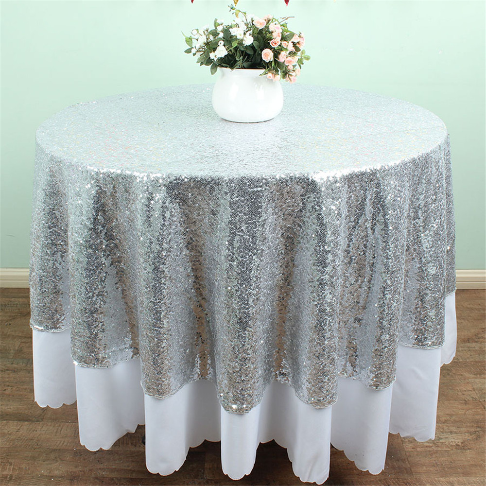 96 inch round tablecloth - Size Available 72 Inches Round Sequin Tablecloth Glitz Silver Sequin Tablecloth For Wedding Decoration