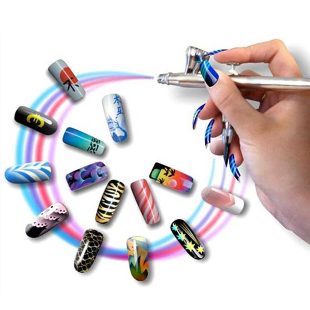 Çok tarzı Airbrush tırnak sanat kiti Aerograph boya tırnak hava fırça kompresörü + 8 temel renk pigmentleri tırnak dövme
