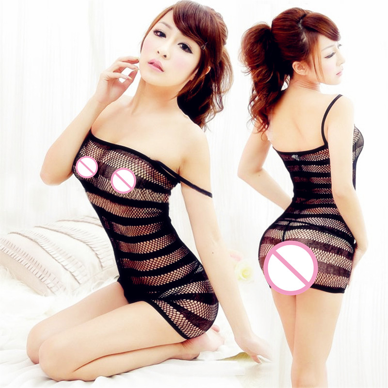 Buy Women Sexy Lingerie Fishnet Seamless Crotch Mini Dress Body Stocking Nightwear Sleepwear Babydoll Dress
