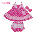 Ropa de Bebé de algodón Niños Rizó Bloomer Oscilación Superior Set Rosa Azul 0-2yrs Infant Toddler Girls Outffits Con Diadema de Moda