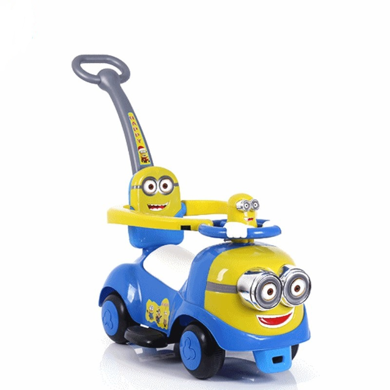 Новая машинка с рулем с миньонами для детей с музыкальной лентой push скутер на четырех колесах игрушка shilly car