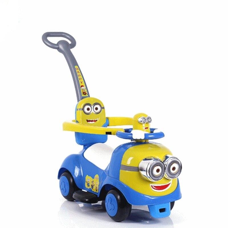 Nouveaux Minions enfants torsion voiture avec bande de musique pousser quatre roues scooter jouet shilly-car