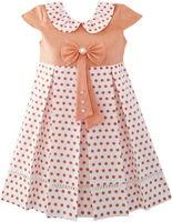Sunny Fashion Girls Dress Polka Dot School Uniform Bow Tie Pearl Cap Sleeve 2016 Summer Princess