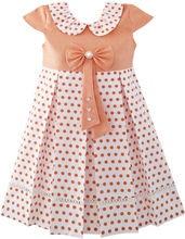 Sunny Fashion Filles Robe Polka Dot École Uniforme Arc Cravate perle Cap Manches 2017 D'été Princesse De Soirée De Mariage Robes Taille 4-14