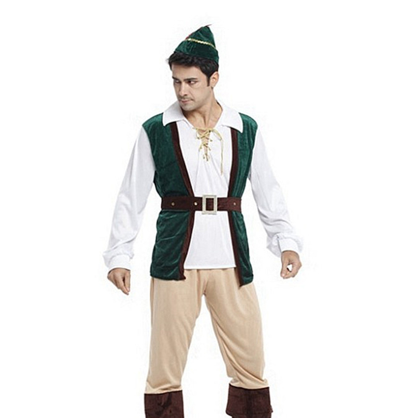 Halloween Party Men T Shirt Suit Adult Hunter Costume Prince Forest Dressed Up As Male Chivalrous Costume Stage Costume Clohing