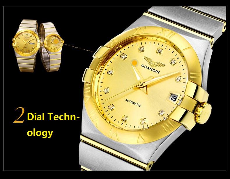 GUANQIN Gold Couple Watches Men Automatic Mechanical Watch Women Quartz Watch Luxury Lover Watch Waterproof Fashion Wristwatches (14)