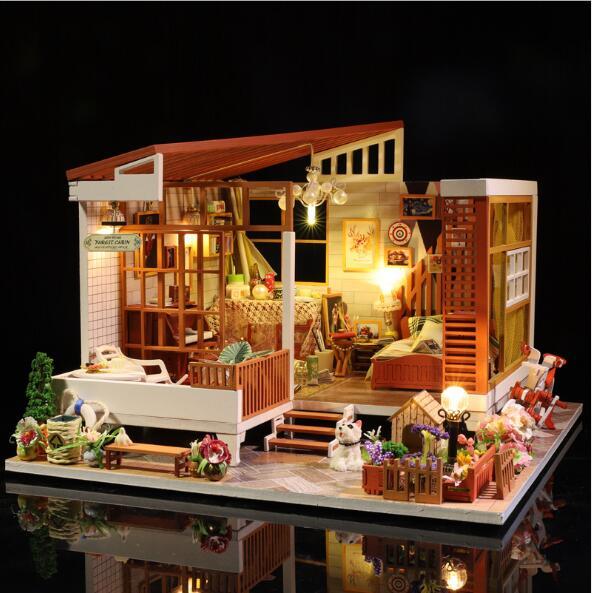 New arrive Doll House DIY Miniature Dollhouse Model Wooden Toy Furnitures Casa De Boneca Dolls Houses