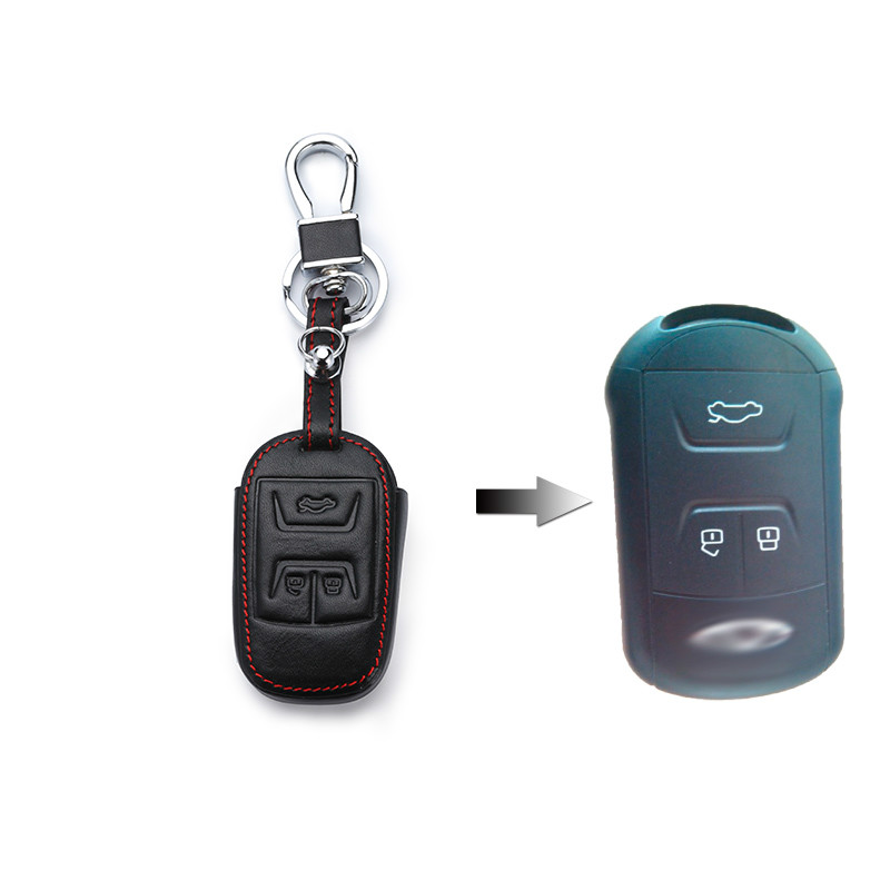 Funda de cuero para coche 3 botones para Chery Tiggo 3 5 Chery Arrizo 3 7 Chery E3 E5 bono coche clave cubierta con llavero