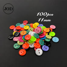 100Pcs Mixed 11mm Round Resin Tiny Buttons Sewing Tools Decorative Mini Button Scrapbooking DIY Apparel Accessories Garment JODb
