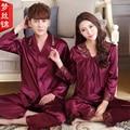 Пары Пижамы Установить Любовь Пижамы С Длинным рукавом Пижамы V-образным Вырезом Роскошные Шелковые Мужчин И Женщин Шелковый Атлас Пижамы XXXL
