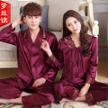 Couples Pajama Set Love Sleepwear Long sleeve V-Neck Pajamas Luxury Silk Men And Women Silk Satin Pyjamas XXXL