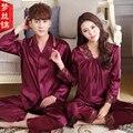 Parejas Pijama Set Amor ropa de Dormir de Los Hombres Y Las Mujeres de manga Larga Con Cuello En V Pijamas de Seda de Lujo de Satén de Seda Pijamas XXXL