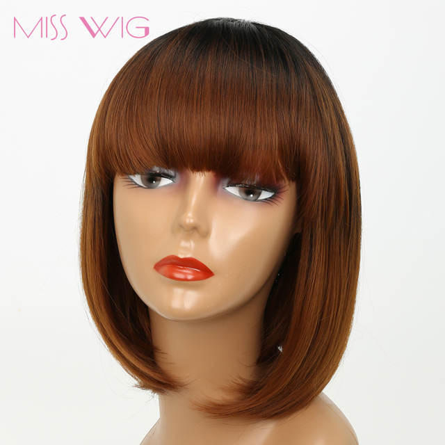 US $11.49 32% OFF|MISS WIG Black Ombre Brown