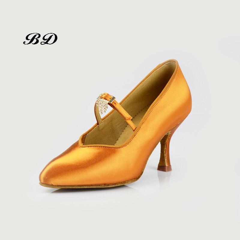 2018 baskets chaussures de danse salle de bal femmes chaussures latines danse moderne résistant à l'usure semelle sueur Absorption déodorant BD 139 Satin