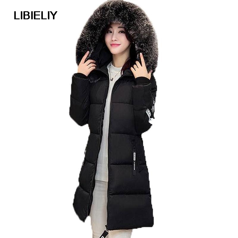 New Nice Winter Warm Down Cotton Jacket Women Faux Fur Collar Thick Slim Hooded Plus Size Long Down Jacket Coat plus size winter jacket new style women down cotton overcoat thick warm coat elegant slim hooded fur collar jacket female ok280