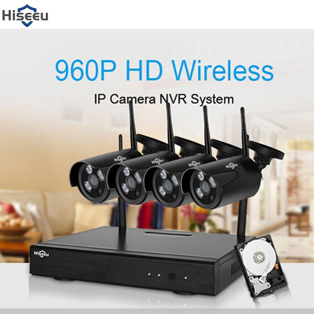 Hiseeu 4CH Беспроводная система видеонаблюдения 1080 P NVR комплект Открытый водостойкий WiFi WLAN 1.3MP 960 P ip камера видео рекордер