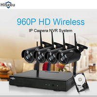 Hiseeu 4CH Wireless CCTV Security Camera System 1080P NVR Kit Outdoor Waterproof WiFi WLAN 1.3MP 960P IP Camera Video Recorder