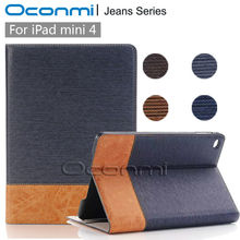 High quality Jeans Wallet leather case for Apple iPad mini 4 new leather cover for ipad mini 4 stand tablet cover