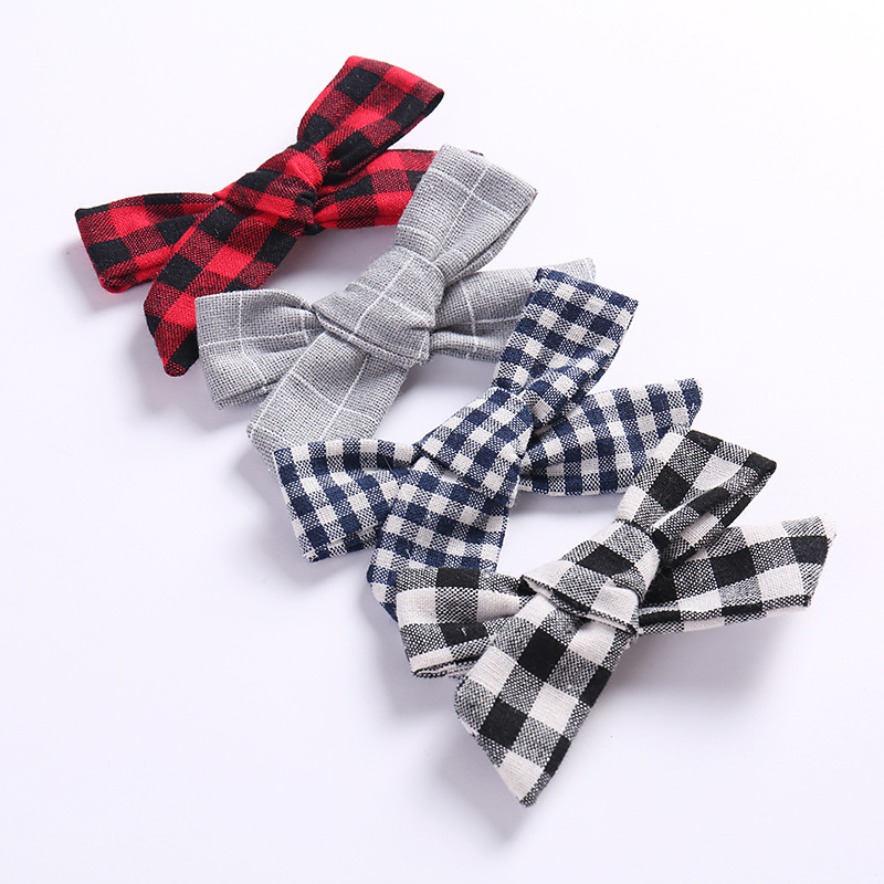 36pc/lot Wholesale Plaid Hair Bow With Alligator Clip,Handmade Fabric Bow Hairpins Kids Girls Barrettes Hair Accessorises