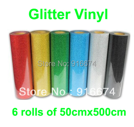 Fast Free shipping DISCOUNT 6 pieces of 50cmx500cm Glitter vinyl for heat transfer heat press cutting plotter