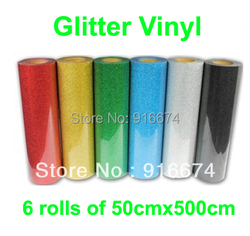 Fast free shipping discount 6 pieces of 50cmx500cm glitter vinyl for heat transfer heat press cutting.jpg 250x250