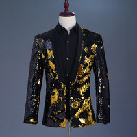 Mens Black Gold Sequin Double Breasted One Button Suit Blazer Men Wedding Party Stage Singer Costumes Nightclub Prom Suit Blazer