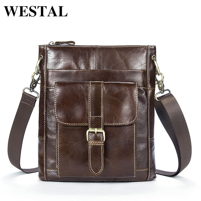 WESTAL Men's Bag Genuine Leather Men Crossbody Bags Man Small Messenger Male Leather New Shoulder Handbag Men Mini Bag 8091 men and women bag genuine leather man crossbody shoulder handbag men business bags male messenger leather satchel for boys