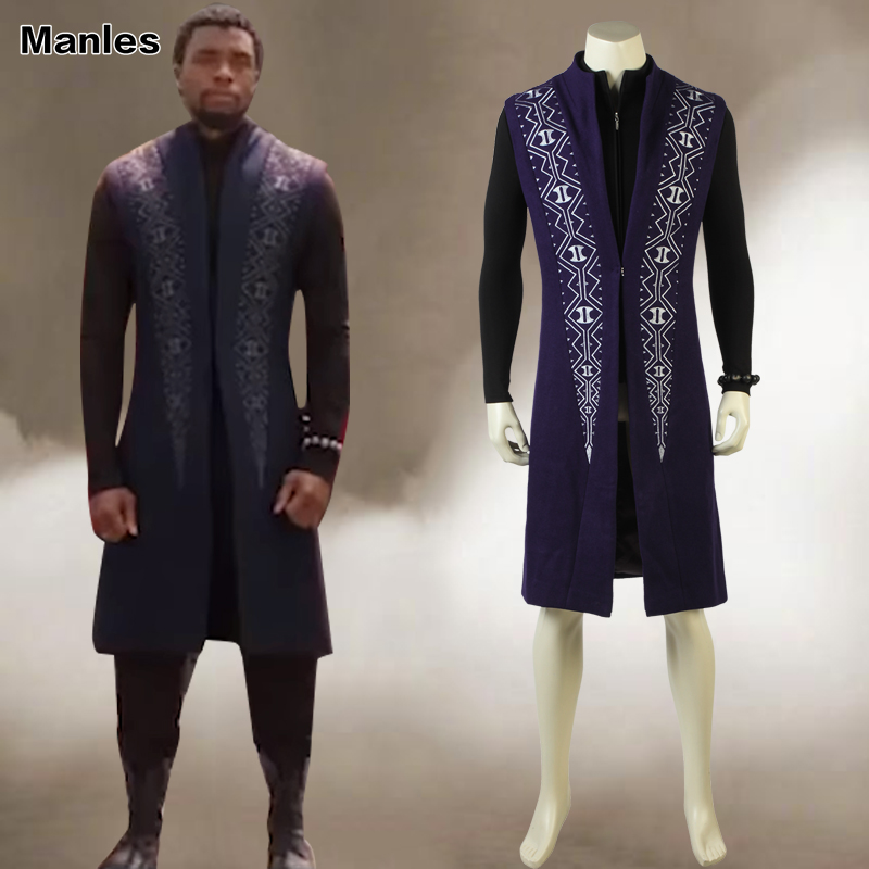 2018 Black Panther T/'Challa Cosplay Costume Wakanda King Jumpsuits Fancy Dress