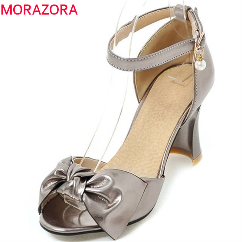 MORAZORA 2018 hot sale women sandals peep toe bowknot party shoes simple buckle summer shoes high heels shoes woman red pink morazora 2018 new women sandals summer sweet bowknot comfortable buckle spike high heels platform shoes peep toe shoes woman