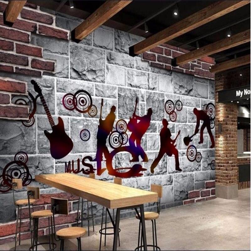 Personnaliser n'importe quelle taille murale 3D Rock musique Bar KTV blanc brique mur café nostalgique guitare beauté Restaurant fond papier peint