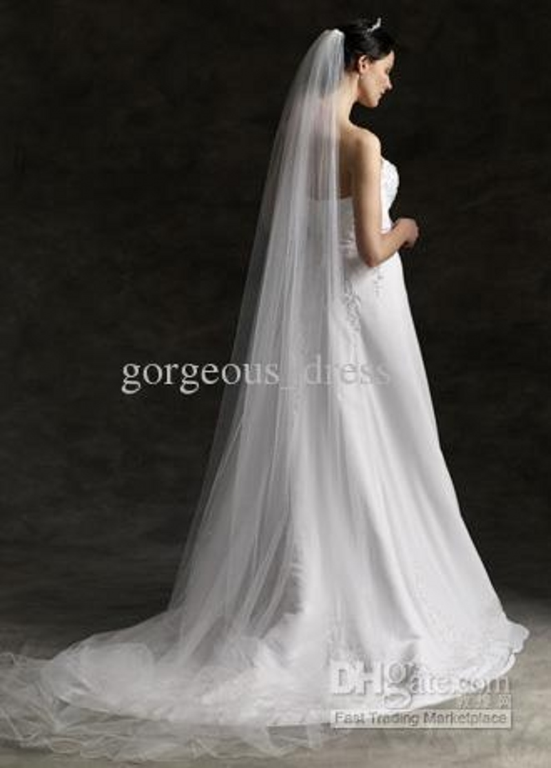 Hot Tulle Ruffles 3 M Floor Length Wedding Veil Bridal Comb Accessories Veils White Ivory Fashion In From Weddings