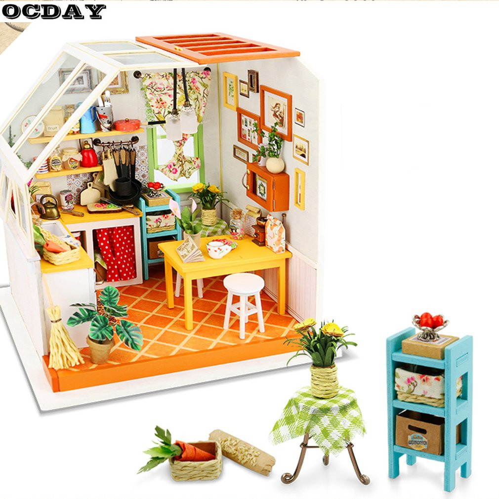 3D Wooden Puzzle DIY Dollhouse Miniature Handmade Furniture Kit Kitchen Model Educational Toy Woodcraft Gift For Children Toys стоимость