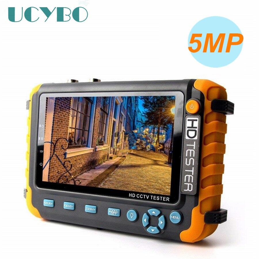 Moniteur de testeur de vidéosurveillance 5MP 4 en 1 AHD CVI TVI CVBS caméra analogique 5 pouces LCD HDMI VGA Audio vidéo RS485 PTZ testeur de caméra de vidéosurveillance