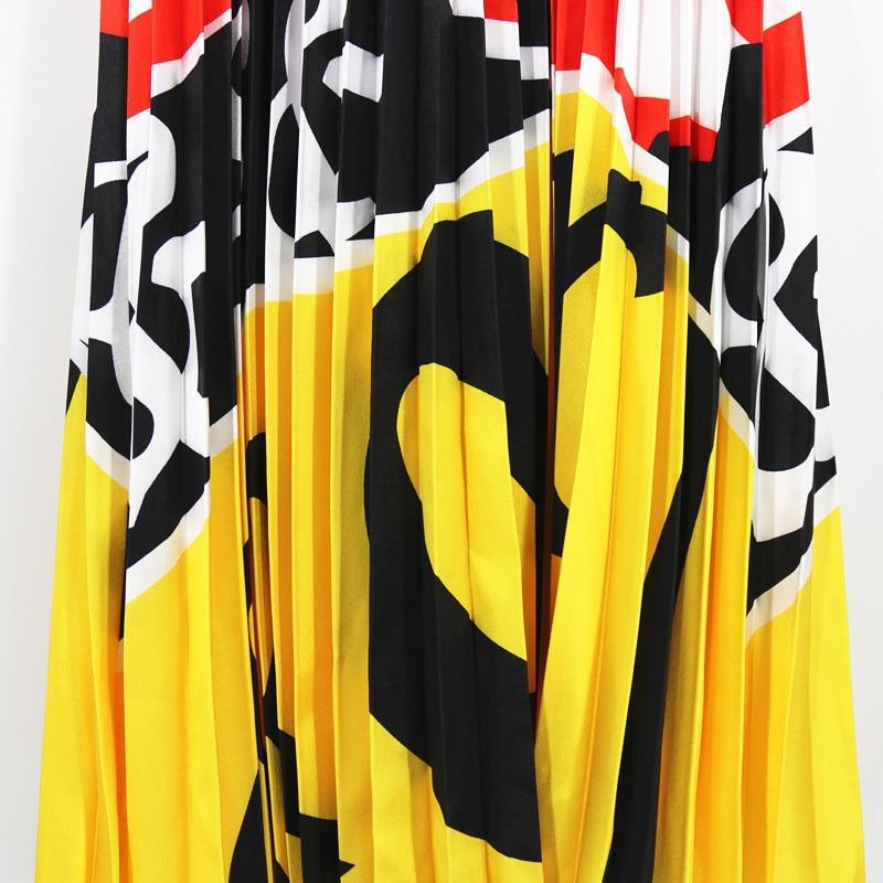 2020 Summer Newest Letter Print Long Skirt Women Irregular Stitching Color Skirt Lady High Waist Elastic A-Line Skirt ZQY832 4
