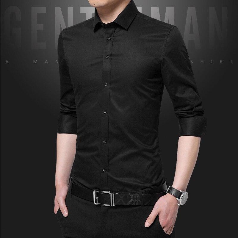 Pure Color Formal Men's Long Sleeve Shirts Slim Elegant Men Dress Shirt Multi Color Choice Size S-5XL