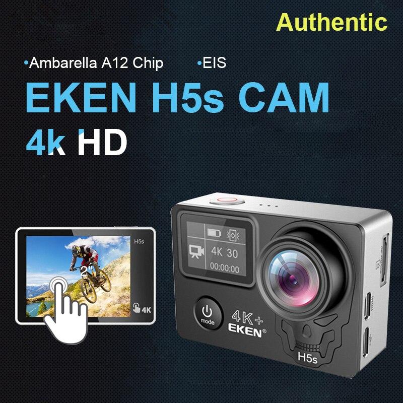 EKEN H5S Plus caméra d'action Ultra HD écran tactile Ambarella A12 EIS 4 k/30fps 1080 p/100fps 30 M étanche go casque pro sport cam