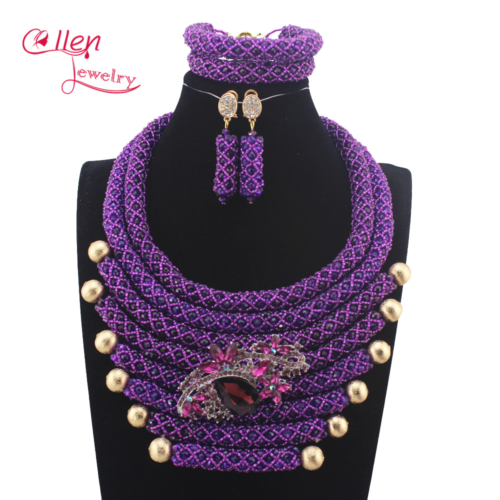 Handmade Luxury African beads jewelry sets indian beaded nigerian wedding bridal beads necklace dubai jewelry sets N0059Handmade Luxury African beads jewelry sets indian beaded nigerian wedding bridal beads necklace dubai jewelry sets N0059