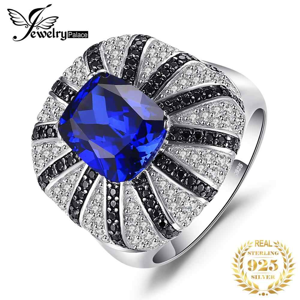 JewelryPalace Luxury 3.9ct Created Sapphire Natural Black Spinel Cocktail Ring Solid 925 Silver Jewelry for Women Fashion New