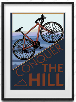 vintage art modern decorative art mural prints bicycles conquer the hill abstact paintings carton pictures canvas painting in Wall Stickers from Home Garden