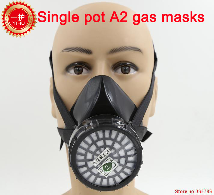 YIHU A-2 respirator gas mask seguridad en el trabajo gas mask paint pesticide Poisonous gases boxe protect safety masks yihu gas mask blue two pot efficient respirator gas mask paint spray pesticides industrial safety protective mask