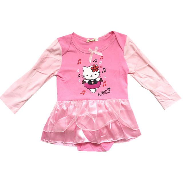 8b302a85b Girl Hellokitty romper Baby Girls Clothes Long Sleeve Dress Jumpsuit  Newborn Girls Clothing Pink Baby Infant Onesie Costume