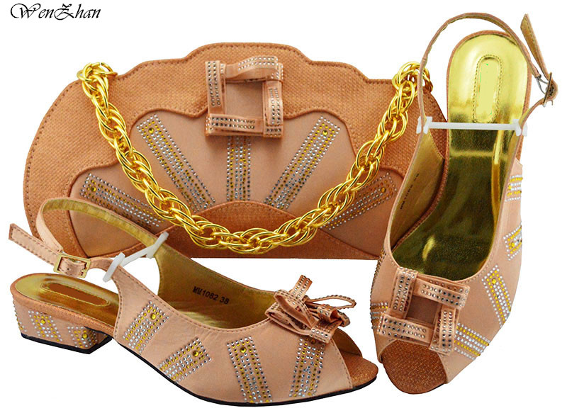 Fashion style Italian matching shoe and bag set peach color new coming african wedding lower shoe and bag sets for women B811-24Fashion style Italian matching shoe and bag set peach color new coming african wedding lower shoe and bag sets for women B811-24