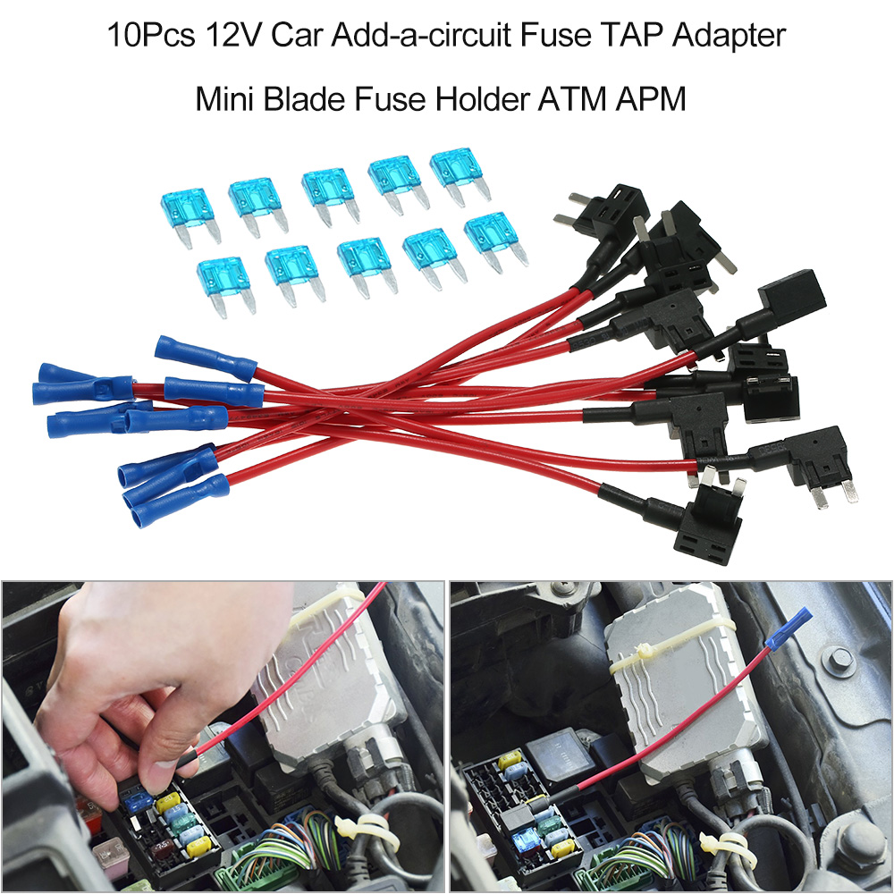 10pcs 12v Car Add A Circuit Fuse Tap Adapter Mini Blade Fuse Holder Atm Apm