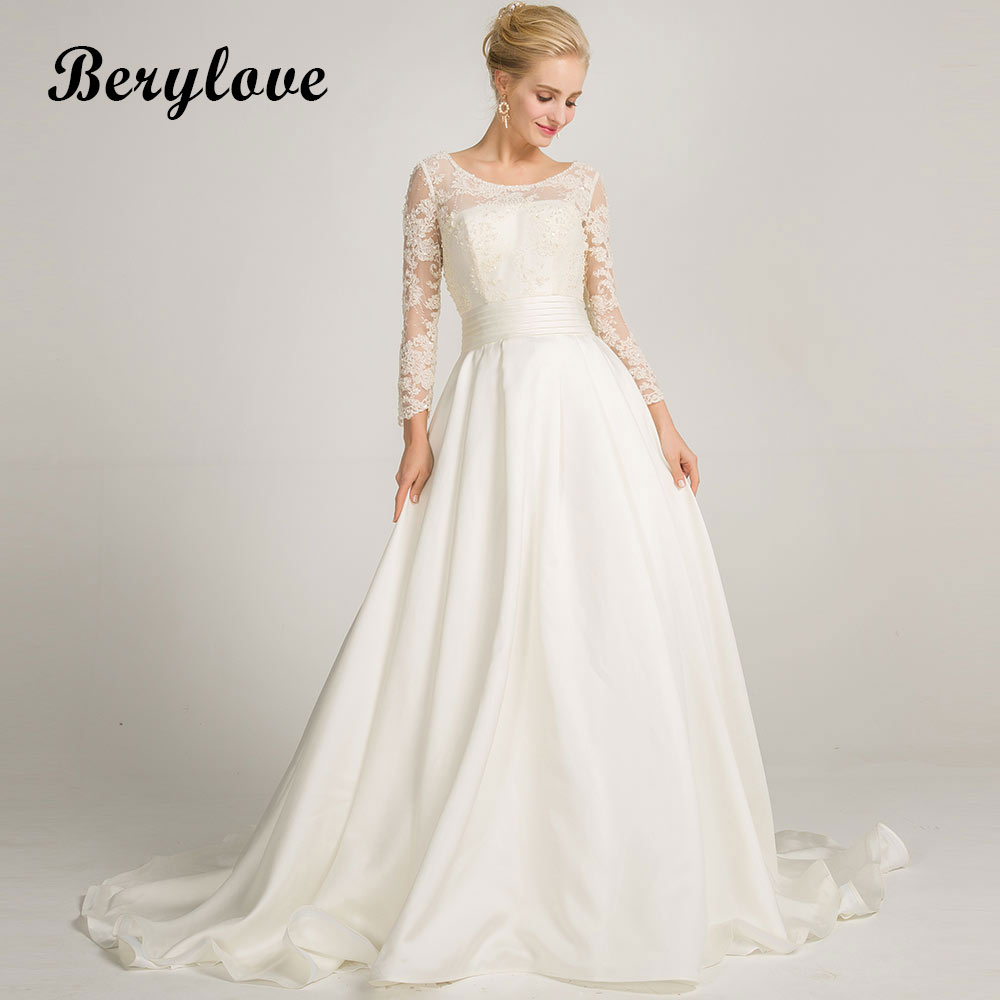 BeryLove Ivory A Line Satin Long Sleeves Wedding Dresses 2018 Long Beaded Lace Wedding Gowns China Women Styles Wedding Gowns