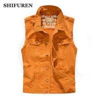 SHIFUREN New Fashion 2017 Men Ripped Denim Vests Single Breasted Sleeveless Jeans Jackets Cowboy Frayed Denim