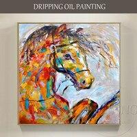 Wykwalifikowanych Artysty Ręcznie malowane Wysokiej Jakości Nowoczesny Nóż Konia Zwierząt Koń Obraz Olejny na Płótnie Handmade Teksturowane Obraz Olejny